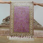 Yilong 2'x3' Hereke silk carpet purple han…