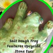 Ribbit! This salt dough frog features upcycled stone eyes!