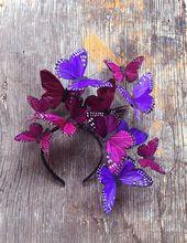Violett Kosmos Schmetterling Fascinator