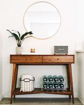 Minimal entrance with West Elm mid-century console in Nastazsa style