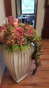Pink hydrangeas with vase