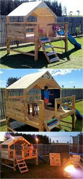Pallets of wood children's play house for the garden – wood DIY ideas
