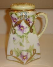 4.75 12 cms tall Classic Art Deco Hand Painted Colours of Green Yellow and Black Crown Devon 1930s Sugar Shaker Sugar Sifter