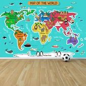 Cartoon Animal World Map Wall Mural Wallpaper WS-42579  | eBay