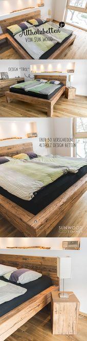 Designerbett aus alten Holzbalken – altes Holzbett, Balkenbett, Schlafzimmer, Schlafzimmer, … – Holz DIY Ideen