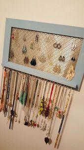 DIY Jewelry Storage – Framed Organizer – Do It Yourself Craft and Project – Diy Jewelry Idea