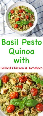 Basil Pesto Quinoa with Grilled Chicken and Tomatoes