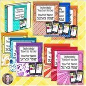 Technology Themed Teacher Binder Covers – Editable!