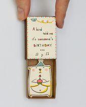 Tarjeta de cumpleaños, deseo de cumpleaños en una caja de fósforos – Un pájaro h …   – Geschenkideen