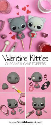 Cute Valentine Kitties – Cake Topper Tutorial / Katze, Katzen, Kätzchen, Figur, Figur