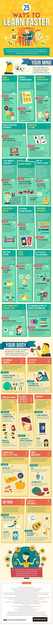 25 Ways to Learn Faster (Infographic) {Study Help | To Make Your Study a Success | To Study With the Right Technique | Study Success Can Be Planned | Easily Study | Examine Existence} with CENTRAL Learning. {Free Learning Type Test! | | e-learning | LernCoaching | Lerntraining} – Pinmode
