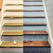 Before and After staircase design ideas on a budget using easy DIY tile stencil … –  #after…