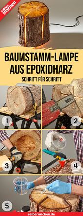 Lamp made of log and epoxy resin: free DIY instructions