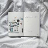 Aquarell, Planeten, Karussell, ohne dich gibt es kein Ich, Tagebuch – Ansichten