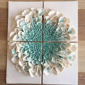 Ceramic Flower Wall Decor , Porcelain Blossom Tile, White Turquoise bloom Wall sculpture, Flower Sculptures, Floral Art Tile