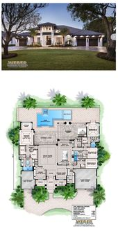 Beach House Plan: Transitional West Indies Caribbean Style Floor Plan