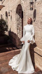 Shiran Cohen 2019 Braut Glocke lange Ärmel hoher Ausschnitt fit Flare Meerjungfrau Hochzei ...