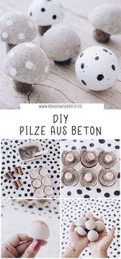 DIY Pilze aus Beton – Kreative und einfache Bastelidee mit Beton   – Weihnachten mit Baby