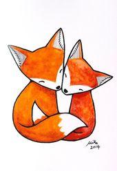 Illustrator Business Card Fox Illustration Print Fuchs Kunst Druck Fox paar Liebe | Etsy