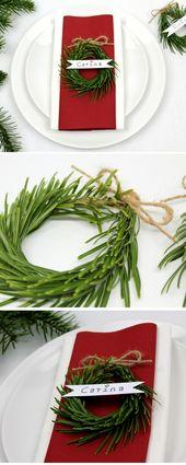 DIY Weihnachtlich den Tisch dekorieren mit Tannenzweigen Namenschild