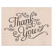 Hero Arts K5870 Woodblock Stamps Thank You with Flourishes