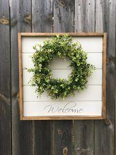 Items similar to shiplap sign, shiplap decor, shiplap hanging sign, welcome sign, welcome wreath, boxwood decor, boxwood sign, boxwood, shiplap wall decor on Etsy