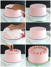Das Sahnehäubchen selber machen, rosa Buttercreme, Tortendekoration, Torte mit Sahne …   – Torten Ideen und Rezepte