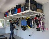 SafeRacks Overhead Garage Storage Bike Rack Heavy Duty (18″-33″ Ceiling Drop)