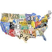 Plaque en métal de style plaque d'immatriculation carte USA