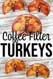 Kaffeefilter Truthähne Thanksgiving Craft für Kinder   – School activity