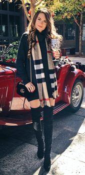 #winter #outfits Black Long Sleeve Mini Dress, Burberry Scarf and Black Thigh … – Outfit.GQ