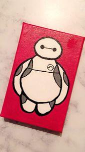 DIY Baymax Leinwand Gemälde. Inspiriert von Disneys Big Hero 6. #biglittlecanvas DIY Baymax Leinwandbild. Inspiriert von Disneys Big Hero 6.