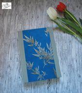"""Notizbuch DinA5 kariert """"Silberstrauch blau"""" 144 Blatt Journal Tagebuch Rezeptbuch Bulletjournal"""