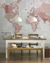 Weltkarten, Maps und Stadtpläne als Dekoration für die Wohnung
