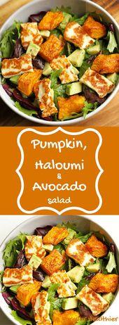 Dieser Kürbis, Haloumi & Avocado Salat ist das perfekte Abendessen unter der Wo… – Rezepte