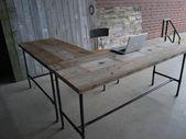 Schreibtisch in L-Form aus Altholz, modern und schön. Wählen Sie Ihre Größe, Ausführung, Höhe