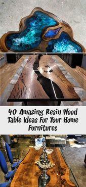 40 erstaunliche Harzholztisch-Ideen für Ihre Hauptmöbel – HOOMDESIGN #epoxyId …   – Epoxy – Epoxy Crafts