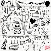 Birthday Party Clipart – 30 Hand Drawn Party Invite Clipart – Logo Art – Party Invitation Elements – Balloons Illustration – 76th