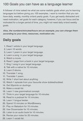 100 Goals you can have as a language learner