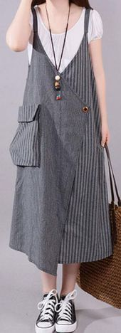 fashion long cotton blended dress Loose fitting Casual Summer Stripe Big Pocket Loose Suspender Gray Dress