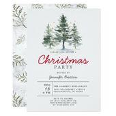 Elegant Christmas Trees Woods Holiday Party Invitation | Zazzle.com