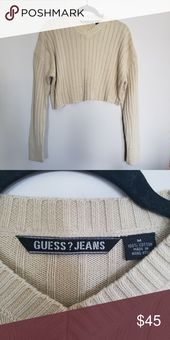 Vintage // Guess Jeans long sleeve v-neck crop top S i z e R e f e r e n c e -Model: 5 quot;2 D e t a i l s -Self cropped (raw hem) -Condition: Great!...