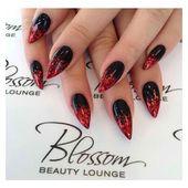 Schwarze und rote Nägel ❤ mochten Polyvore mit Schönheitsprodukten und Nagelpflege
