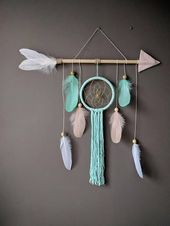 Arrow nursery dream catcher/ large baby mobile/ Large arrow wall hanging/ Baby shower gift