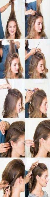 19 neue Ideen für das Haar Half Up Half Down Lässige Frisuren mittlerer Länge