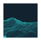 Abstract Vector Landscape Background. Cyberspace Grid. 3D Technology Vector Illustration. Art Print by Login   Art.com