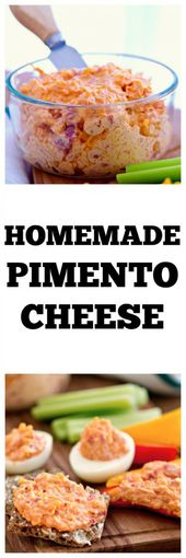 Homemade Pimento Cheese – Make this easy appetizer in minutes. It's perfect foot…