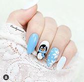 Schnee Nägel Weihnachten Winter Maniküre Pinguin Weihnachten Nail Designs, Winter …   – Nails Ideas