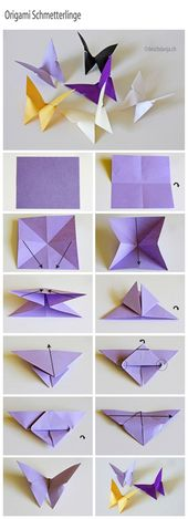 Origami butterflies fold   – Papercrafts – basteln mit Papier