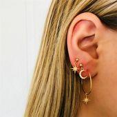 Full Diamond Star Moon Earring Stud Earrings Combination